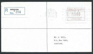 NEW ZEALAND 1986 $1.55 Frama Registered cover Queenstown to Auckland.......45664