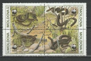 Moldova 1993 Fauna Snakes WWF 4 MNH stamps