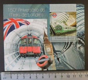 St Thomas 2013 london metro railways transport s/sheet mnh