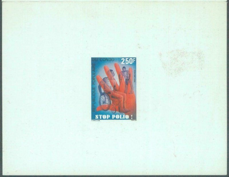 88811 - CONGO - set of 2 DELUXE Souvenir Sheet PROOF - 1984  Medicine POLIO