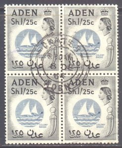Aden Scott 74 - SG85, 1964 St Edward's Crown 1/25 Block of 4 used