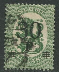 Finland - Scott 123 - Arms of Republic Overprint -1921- Used - Single 30p Stamp