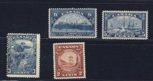 4x Canada Stamps #202-5c 204-5c 205-3c 208-2c Guide Value = $59.00
