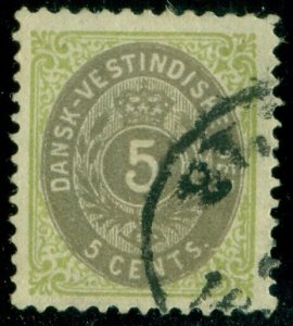 DANISH WEST INDIES #19 (17) 5¢ bicolor, used, VF, Scott $35.00