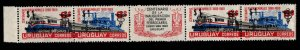 Uruguay Scott Q102-Q103a MNH** Parce Post surcharged overprint strip