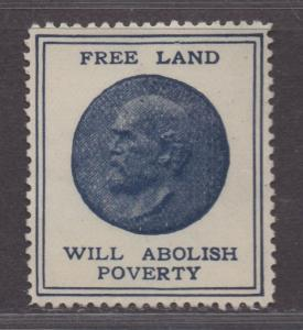 **US Cinderella, RARE 1800's Free Land Will Abolish Poverty Poster Stamp, NG