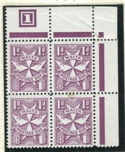 MALTA; 1953 early Postage Due issue fine MINT MNH Corner 1d. Block
