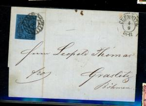Saxony #7 Used On Cover F-VF Cat $125