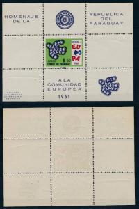 [35791] Paraguay 1961 United Europe Birds Souvenir Sheet MNH