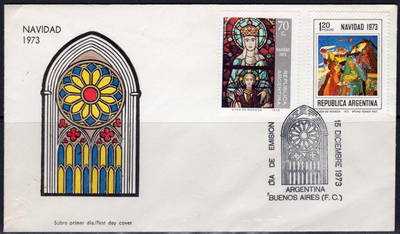 Argentina 1973 Sc#1011/1012 Christmas Nativity by Bruno Venier Set (2) FDC