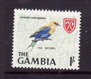 Gambia-Sc#222-unused NH 1sh blue-bellied roller-Birds-id1-1966-