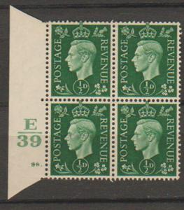 GB George VI  SG 462 Control E39 Cyl 98 Dot