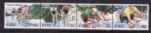 Ireland-Sc#1136a-unused NH strip-Sports-Tour de France Bicycle Race-1998-