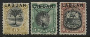 Labuan 1894 3 cents to 6 cents  mint o.g.