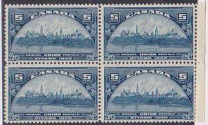 Canada USC #202 Mint 5c UPU Block of Four Fresh & F-VF-NH Light Gum Crease on 2