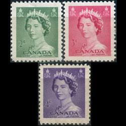 CANADA 1953 - Scott# 326-8 Queen 2-4c NH