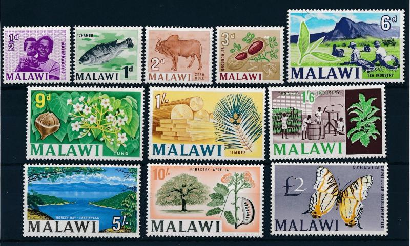 [50688] Malawi 1966 Definitives Tea Tobacco Butterfly Papillons MNH