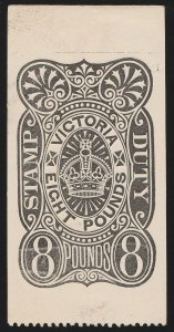 VICTORIA : 1884 Stamp Duty £8 black Postal Fiscal PROOF.