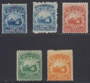 COSTA RICA 1863 COAT OF ARMS Sc 1-4 & 1a FULL SET HINGED MINT F,VF €250.00