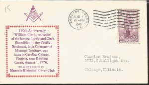 J) 1940 UNITED STATES, 170th ANNIVERSARY WILLIAM CLARK CO LEADER OF THE FAMOUS L