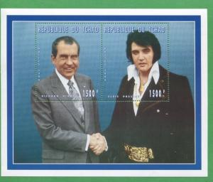Elvis Presley President Richard Nixon Shake Hands Souvenir Stamp Sheet Chad E60