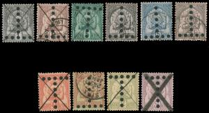 TUNISIA 1888-1901 POSTAGE DUE GROUP USED 11 stamps 6 with inverted Ts CV$151....