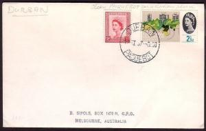 GB SOUTH AFRICA 1967 cover GB stamps DURBAN PAQUEBOT cds..............31048