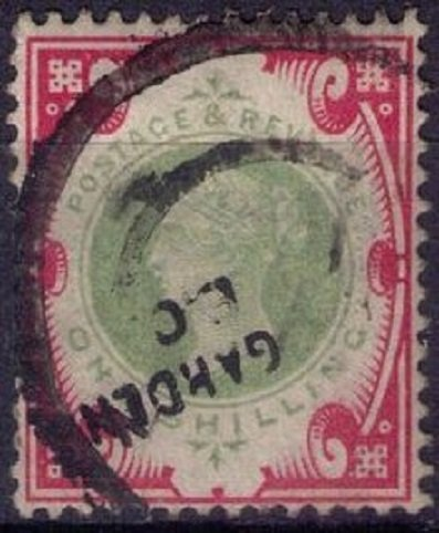 Great Britain Sc #126 One Shilling Carmine Rose & Green Very Fine