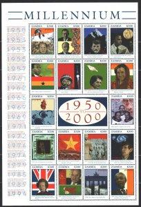 Zambia. 2000. Small sheet 1085-1102. Millennium, Indira Gandhi, Gorbachev, Th...