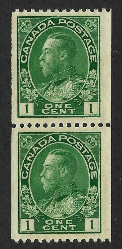 Doyle's_Stamps: Canada 1915 Green 1c KGV  Vertical Coil Pair -- Scott #131*/**