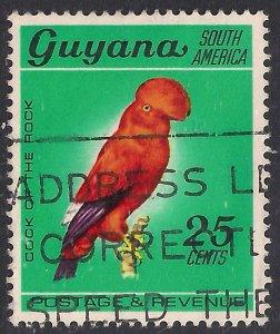 Guyana 1968 QE2 25ct Guianan Cock of the rock Used SG 456 ( F138 )