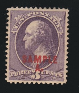 US 214SL 3c Washington Specimen XF OG H SCV $75