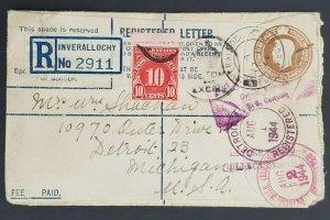 1944 Inverallochy Scotland to Detroit Michigan USA Registered WWII Cover
