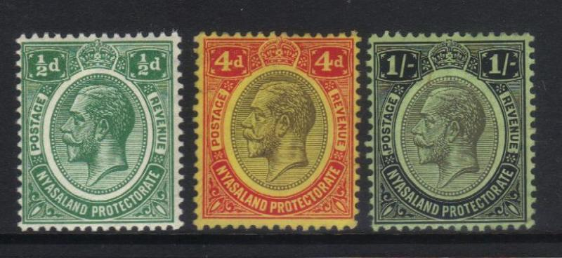 NYASALAND 1913-1921 DEFINS 3 MH VALUES