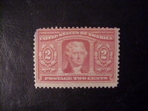 1904 TWO CENT JEFFERSON LOUISIANA PURCHASE STAMP MINT/ HINGED SCOTT 324