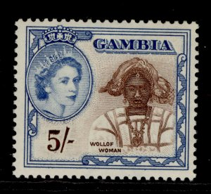 GAMBIA QEII SG183, 5s chocolate & bright blue, NH MINT.