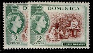 DOMINICA QEII SG142 + 142a, 2c SHADE VARIETIES, NH MINT. Cat £17.