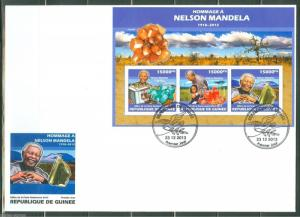 GUINEA   2014 HOMMAGE TO NELSON MANDELA   SHEET  FIRST DAY COVER