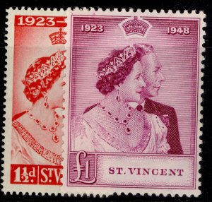 ST. VINCENT GVI SG162-163, ROYAL SILVER WEDDING set, M MINT. Cat £28.