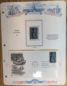 #1333 Urban Planning FDC and MNH Single in mount on souvenir page