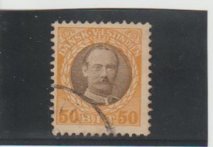 Danish West Indies  Scott#  50  Used  (1908 Frederik VIII)
