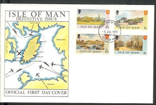 Isle of Man - 1973 Definitive (2 1/2 p - 4 p) (FDC)