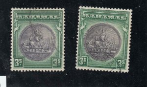 BAHAMAS # 91-91a VF- 3sh COLONY SEALS FROM THE HILLSON COLLECTION CAT VALUE $42