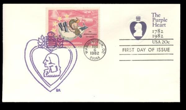 5th Reconnaisance Squadron Poster Stamp on Purple Heart #U603 FDC