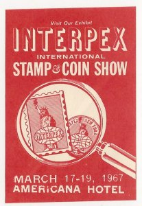 INTERPEX 1967, International Stamp Show, N.Y.C., Poster Stamp, Cinderella Label