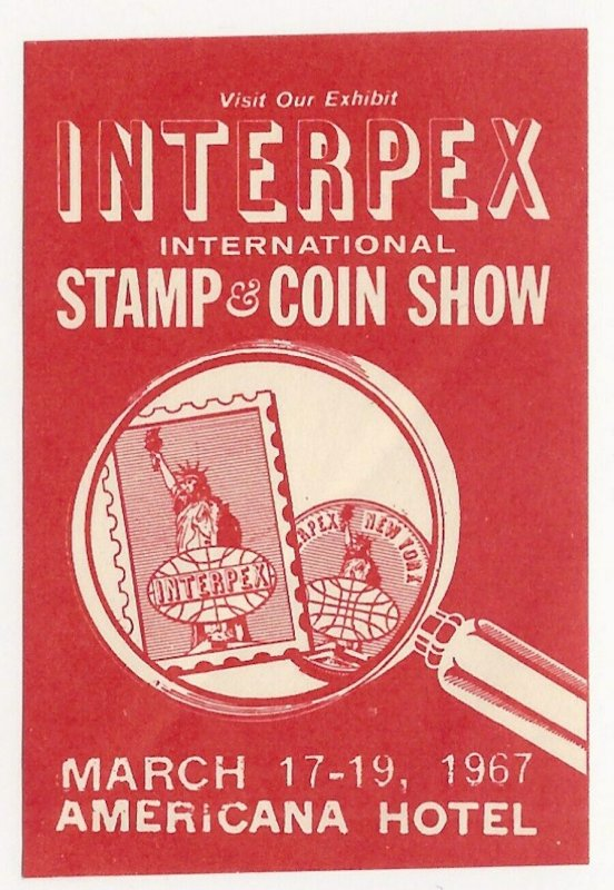 INTERPEX 1967 International Stamp and Coin Show, Poster Stamp / Cinderella Label