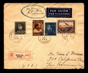 Belgium 1937 Registered Airmail Cover to USA w/ Better (Light Creasing) - L11277