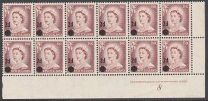 NEW ZEALAND 1958 2d on 2½d plate block of 12 - plate 8 mint.................1619
