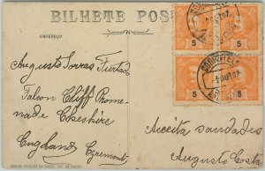 58218 -  PORTUGAL  - POSTAL HISTORY: Block of 4 stamps on POSTCARD  - 1907