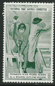 Women Building Huts for Soldiers, World War I, Great Britain Poster Stamp